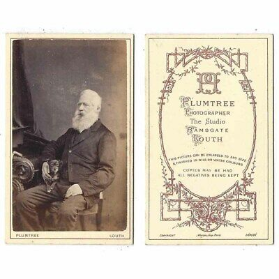 CDV Gentleman With Small Pet Dog Carte De Visite By Plummer Of Louth • 9.95£