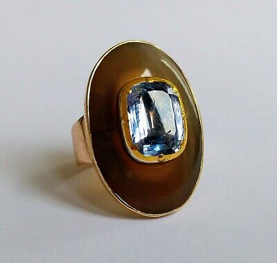 £1800 • Buy Georgian Agate & Natural Sapphire Ring - 2cts Approx - C.1820