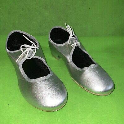 Tap Shoes Adult UK 7 Silver Low Heel With Toe Taps By Dance Depot NEW • 7.95£
