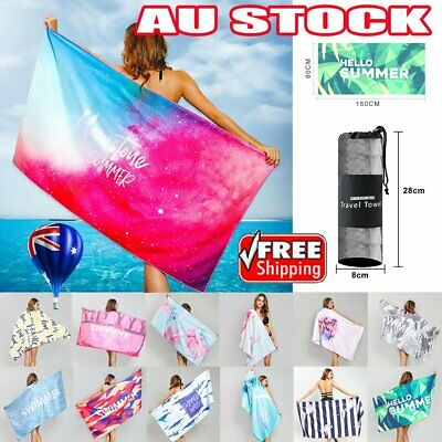AU22.74 • Buy 80x160cm Adults Large Soft Quick Dry Microfibre Sand-free Travel Beach Towel AU