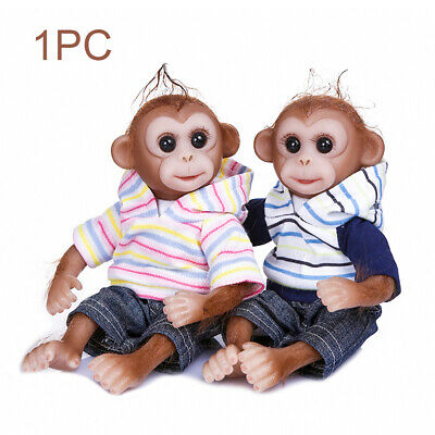 26cm Realistic Reborn Baby Monkey Girl Dolls Soft Silicone VinylToys For Kid UK • 25.99£