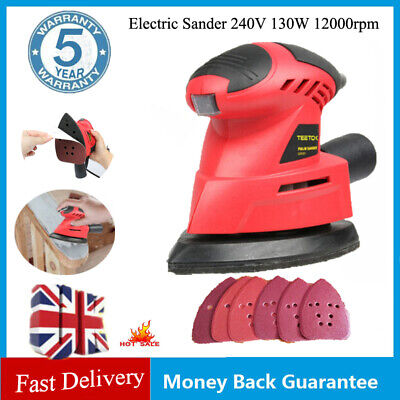 Electric Palm Hand Sander Grinding Sanding Machine 130W Details Tight Corners UK • 15.90£