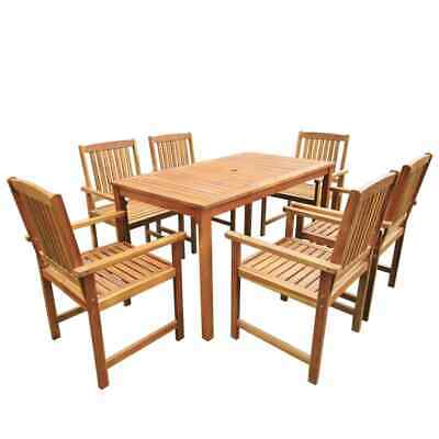 AU639.95 • Buy 7 Pcs Wooden Dining Table And Chairs Outdoor Patio Furniture Parasol Hole Brown