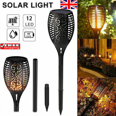 2pack Solar Powered Torch Lights Flame Flickering Dancing Lantern Garden Lamp UK • 10.69£