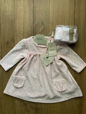 BNWT Next Girls Dress And Tights Outfit 2 Piece Set Age 0-3 Months • 4£