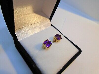 9ct Gold Amethyst Earrings, Fully Hallmarked, Boxed, Excellent Condition • 26£