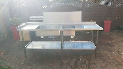 Large Commercial Stainless Steel Double Bowl Double Drainer Sink • 103£