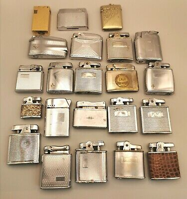 21 Vintage Lighters Ronson Etc (Untested) 1 Silver Plated Vesta Case (In Tin)  • 26£