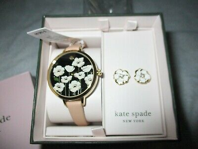 $ CDN104.73 • Buy NEW Kate Spade Holland Floral Leather Watch Gold-Tone & Earrings Set KSW9011B