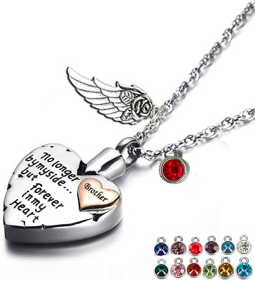 Prekiar Heart Cremation Urn Necklace For Ashes Angel Wing Jewelry Memorial Penda • 18.81£
