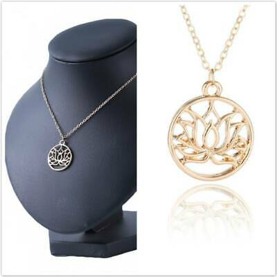 $ CDN1.26 • Buy Hollow Lotus Flower Pendant Charm Gold Necklace Chain Women Jewelry Gift WA