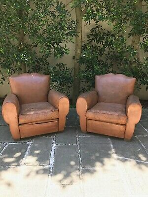 AU2200 • Buy Pair Of French Leather Club Chairs