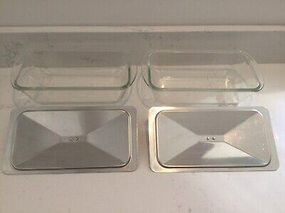 2x Glasbake Glass Pyrex Dish For EKCO Hostess Trolley Original Serving Dishes • 23.49£