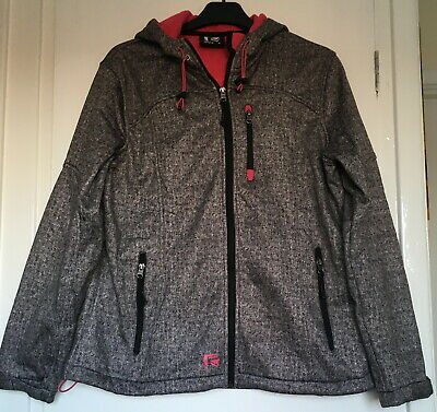 Grey Soft Shell /pink Fleece Lined Jacket With Hood Size L • 3.50£