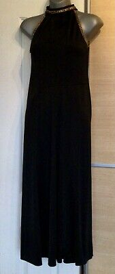 Gorgeous Black And Gold Embellished Grecian Maxi Dress Size 10-12 • 1.95£