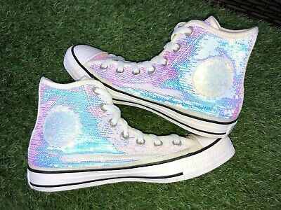 Converse Trainers Size 6 UK Iridescent Pink Silver Sequin Hi Tops VGC (026) • 27.99£