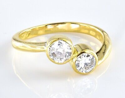 18ct Yellow Gold Ring With 2 X 0.5ct Diamonds Total Carat Weight 1ct Size P • 995£