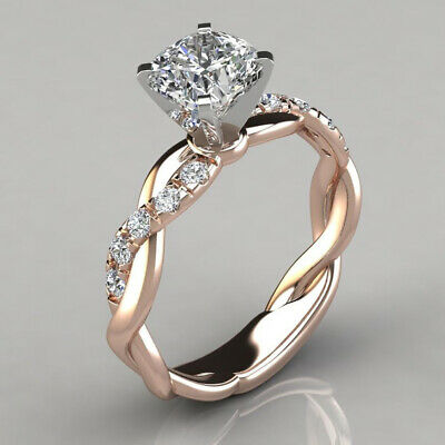 AU6.99 • Buy 18k Gold Plated Twisted Ring 1CT Carbon Diamond Wedding Engagement Ring AU