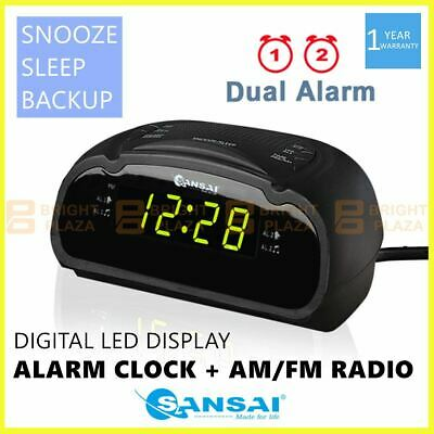 AU29.95 • Buy Digital Alarm Clock Radio AM/FM Large Green LED Display Snooze Sleep Backup Dual