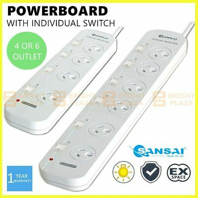 AU24.95 • Buy 4/6 Way Outlet Power Board Powerboard Sockets With Individual Switch Power Point
