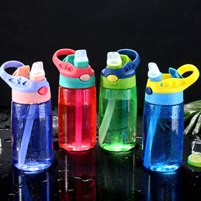 Children Kids Drinking Cup Sports Water Bottle With Straws Plastic BPA Free^^ • 5.39£