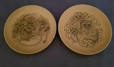 2 Poole Pottery Stoneware Barbara Linley Adams Plates - Mouse And Owl • 3.99£