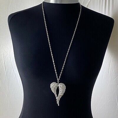 £3.99 • Buy Tibetan Silver Large Angel Wings Charm Pendant 70mmx46mm 30  Long Chain Necklace