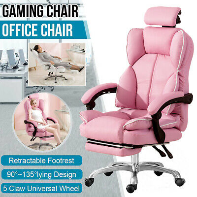 AU79.88 • Buy Ergonomic Gaming Computer Chair Swivel Office Chair Recliner Leather Desk Chairs