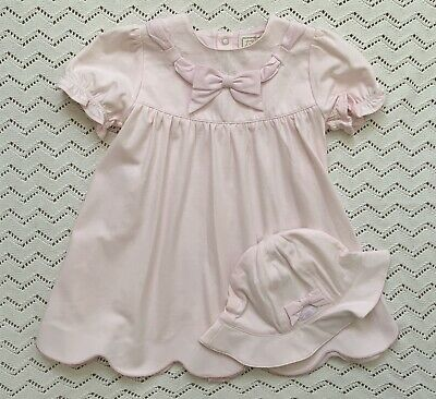 Emile Et Rose Pink Bow Dress With Hat And Bloomers 9-12 Months • 14£