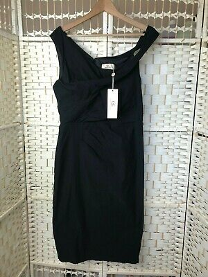 Grace Karin Black Cocktail Pencil Dress Bodycon SIZE L 8/10? Side Rushed Stretch • 19.99£