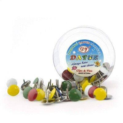 H0342 Drawing Pins Round Multicoloured - 2 Boxes (50 Pcs A Box) • 0.99£