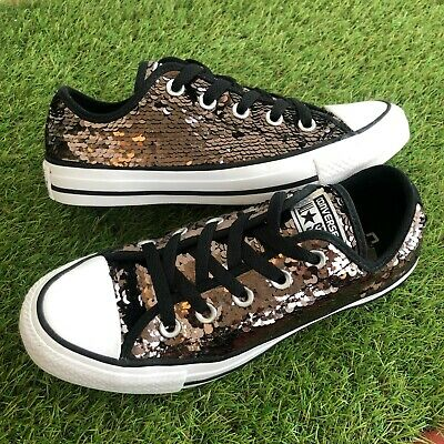 Converse Trainers Size 4 UK Copper Bronze Sequin Low Tops VGC (056) • 22.99£