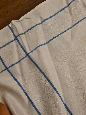 Large Vintage Rectangular Damask White Tablecloth  With Blue Border French Linen • 18£