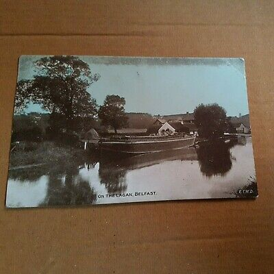 Boat On The Lagan Belfast Antrim Ireland Postcard 1907 - Bailie Donegall Road • 0.99£