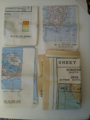 Four WW 2 Far East Allied Air Forces Silk Double Sided Escape Maps C.1944 • 205£