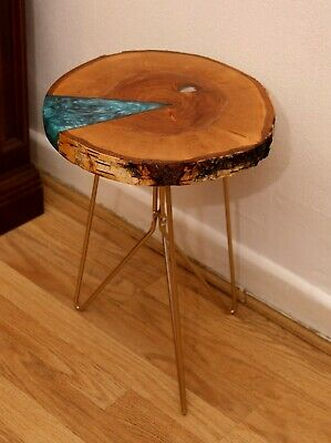 £110 • Buy Epoxy Resin Coffe/Side Table With Blue Lagune And Shells