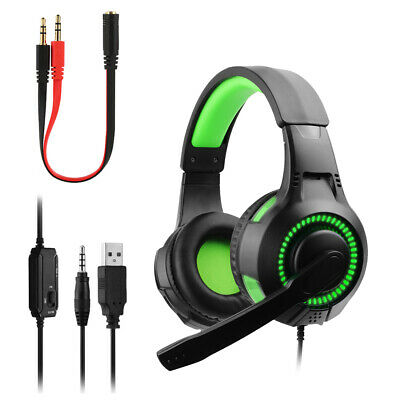 Gaming Headset For Xbox One PS4 PC Laptop USB Wired LED Stereo Mic Headphones UK • 13.91£