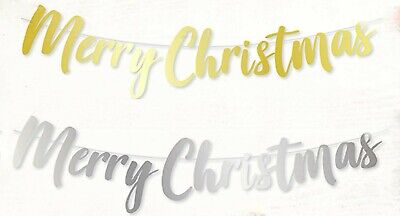 Merry Christmas  Typography Banner Bunting Hanging Garland Decoration Foil • 2.89£