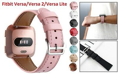 $ CDN17.59 • Buy Leather Watch Band Strap Fit For Fitbit Versa/Versa 2/Lite Waterproof Men Women