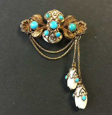 Victorian Gold And Turquoise Brooch Vintage. • 106£