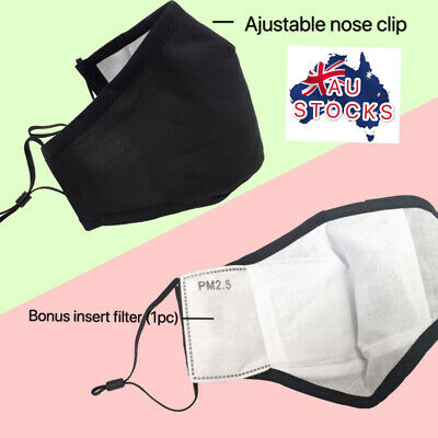 AU6.95 • Buy 100% Cotton Washable Reusable Face Mask With 2.5PM Filter Insert Au Stock