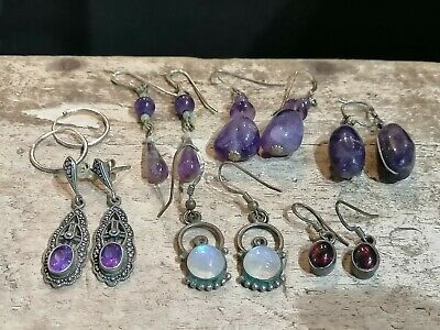 Job Lot Of Vintage 925 Silver Earrings. Amethyst. Labradorite. 27.8gms • 8.50£