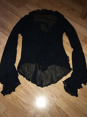 Omen Black See Through Sheer Top Long Sleeved Fluted Ruffle Sexy Goth Punk • 1.40£