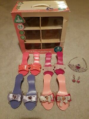 Girls Dress Up Slip On High Heel Shoes, Tiara & Earrings ELC Age 3 Years + • 9.73£