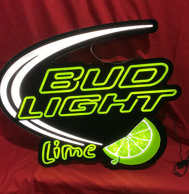 $ CDN130.33 • Buy Bud Light LIME BEER SIGN Lighted OPTI NEON Neo Green Bright! VERY COOL Rare