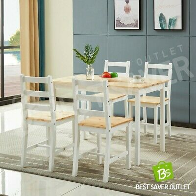 AU269.75 • Buy Dining Table Wooden Rectangular Kitchen Living Room Furniture W/4 Chairs WH&OAK