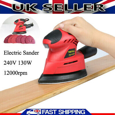 Teetok Palm Sander Electric Polisher Grinder 130W Home DIY Tool & 6 Sand Sheets • 13.90£