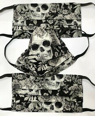Face Mask / Covering, Washable, 100%Cotton , Double Layer, Gothic Sculls & Roses • 7£