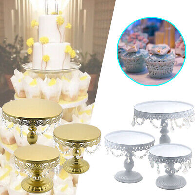 £16.99 • Buy Gold White Iron Cake Plate Stands Crystal Decoration S M L Set For Christmas