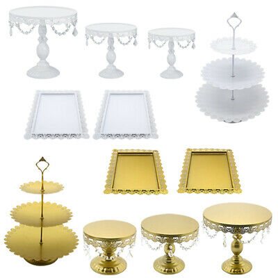 6x Gold White Iron Cake Display Plates Stands Crystal Decoration Wedding Holiday • 36.99£